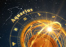 Zodiac Sign Aquarius And Armillary Sphere On Blue Background. 3D Illustration Stock Photos