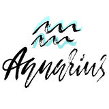 Zodiac sign of Aquarius. Astrology vector illustration. Sketch isolated on white background. Handwritten lettering. Design Stock Photography