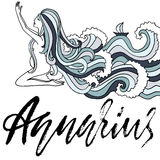 Zodiac sign of Aquarius. Astrology vector illustration. Sketch isolated on white background. Handwritten lettering. Design. Girl with ocean wave hairs Stock Image