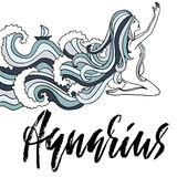 Zodiac sign of Aquarius. Astrology vector illustration. Sketch isolated on white background. Handwritten lettering. Design. Girl with ocean wave hairs Royalty Free Stock Photo