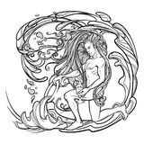 Zodiac sign Aquarius. Beautiful young man with long hair holding large amphora. Black and white sketch. Zodiac sign Aquarius. Young man with long hair holding Stock Photo