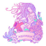 Zodiac sign Aquarius. Beautiful young man with long hair holding large amphora. Pastel goth palette. Zodiac sign Aquarius. Young man with long hair holding large Stock Images