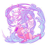 Zodiac sign Aquarius. Beautiful young man with long hair holding large amphora. Pastel goth palette. Zodiac sign Aquarius. Young man with long hair holding large Stock Photos