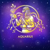 Zodiac sign Aquarius. Character of Sumerian mythology. Gold imitation. Vector illustration. Background - the night star sky.Print, potser, t-shirt, card vector illustration
