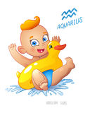 Zodiac sign Aquarius. Child enjoys swimming. water fun, splashing and rescue circle inflatable duck. Royalty Free Stock Images