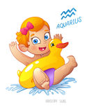 Zodiac sign Aquarius. child enjoys swimming. water fun, splashing and rescue circle inflatable duck. Royalty Free Stock Photo