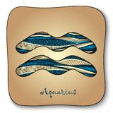 Zodiac sign - Aquarius. Doodle hand-drawn style Stock Photos