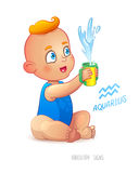 Zodiac sign Aquarius. Happy babyboy enjoys splashes in feeding cup. Water Game. Horoscope Stock Photos