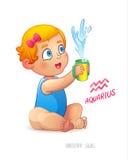 Zodiac sign Aquarius. Happy babygirl enjoys splashes in feeding cup. Water Game. Horoscope sign Aquarius Stock Photos