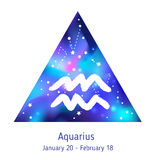 Zodiac sign Aquarius over hipster triangle with space galactic s. Tarry texture inside. Night sky full of stars. Vector galaxy design for horoscope predictions Royalty Free Stock Photo