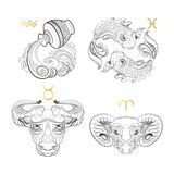 Zodiac Sign. Aquarius Pisces Taurus Aries. Hand drawn line art of decorative zodiac sign.  Aquarius Pisces Taurus Aries on white background. Horoscope vintage Royalty Free Stock Photo