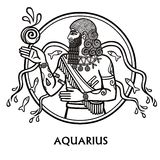 Zodiac sign Aquarius. Vector art. Black and white zodiac drawing isolated on white. Royalty Free Stock Image