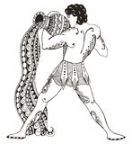 Zodiac sign - Aquarius. Young man with large amphora. Water outp. Oured. Vector illustration. Zentangle stylized. Horoscope. Pattern. Hand drawn. Freehand pencil stock illustration