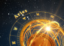 Zodiac Sign Aries And Armillary Sphere On Blue Background. 3D Illustration Royalty Free Stock Photo