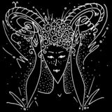 Zodiac sign Aries black and white drawing girl shows horns with her hands and fingers. Figure drawn pen stock illustration