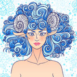 Zodiac sign Aries. Blue sheep lady. Zodiac sign aries. Sheep women with the curly fire hair. Chinese calendar Royalty Free Stock Images