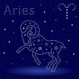 Zodiac sign Aries with snowflakes Royalty Free Stock Image