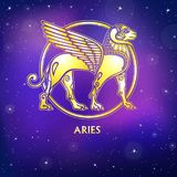 Zodiac sign Aries. Character of Sumerian mythology. Gold imitation. Vector illustration. Background - the night star sky.Print, potser, t-shirt, card vector illustration