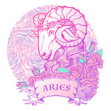 Zodiac sign of Aries. with a decorative frame roses Astrology concept art. Tattoo design. Zodiac sign of Aries. with a decorative frame of roses Astrology Royalty Free Stock Photography