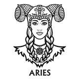 Zodiac sign Aries. Fantastic princess, animation portrait. Royalty Free Stock Photography