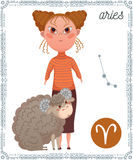 Zodiac sign Aries. Funny cartoon character. Stock Photo