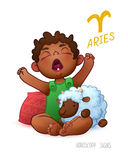 Zodiac sign Aries. Horoscope Sign Aries. African Americam child enjoys playing Sheep. Wake up Baby Stock Photography