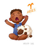 Zodiac sign Aries. Horoscope Sign Aries. African Americam child enjoys playing Sheep. Wake up Baby Royalty Free Stock Image