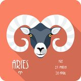 Zodiac sign Aries icon flat design Royalty Free Stock Images