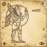Zodiac sign Aries. Image of the person - a centaur. Character of Sumerian mythology. Full growth. Background - imitation of old paper, space symbols. The place Stock Photography