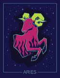 Zodiac sign Aries on night starry sky background. Royalty Free Stock Photos