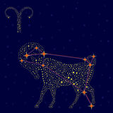 Zodiac sign Aries over starry sky Stock Photos