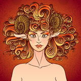 Zodiac sign Aries. Sheep lady. Zodiac sign aries. Sheep women with the curly fire hair. Chinese calendar Stock Photos