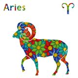 Zodiac sign Aries with stylized flowers Stock Photos