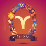 Zodiac sign ARIES, in sweet floral wreath. Horoscope sign, flowers, leaves and ribbon Stock Images