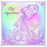 Zodiac sign. Astrological horoscope collection. Vector illustration. Aquarius Zodiac sign. Astrological horoscope collection. Violet on soft ultra violet space stock illustration