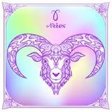 Zodiac sign. Astrological horoscope collection. Vector illustration. Aries, sheep, ram Zodiac sign. Astrological horoscope collection. Violet on soft ultra stock illustration