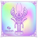 Zodiac sign. Astrological horoscope collection. Vector illustration. Cancer, Zodiac sign. Astrological horoscope collection. Violet on soft ultra violet space stock illustration
