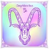Zodiac sign. Astrological horoscope collection. Vector illustration. Capricorn Zodiac sign. Astrological horoscope collection. Violet on soft ultra violet space vector illustration