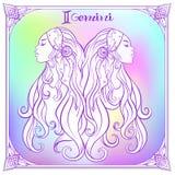Zodiac sign. Astrological horoscope collection. Vector illustration. Gemini, twins girls Zodiac sign. Astrological horoscope collection. Violet on soft ultra stock illustration