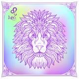 Zodiac sign. Astrological horoscope collection. Vector illustration. Leo, lion Zodiac sign. Astrological horoscope collection. Violet on soft ultra violet space vector illustration