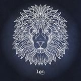 Zodiac sign. Astrological horoscope collection. Vector illustration. Leo, lion Zodiac sign. Astrological horoscope collection. White on dark blue, black space royalty free illustration