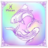 Zodiac sign. Astrological horoscope collection. Vector illustration. Pisces, fishes, Zodiac sign. Astrological horoscope collection. Violet on soft ultra violet stock illustration