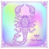 Zodiac sign. Astrological horoscope collection. Vector illustration. Scorpio Zodiac sign. Astrological horoscope collection. Violet on soft ultra violet space stock illustration
