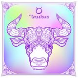 Zodiac sign. Astrological horoscope collection. Vector illustration. Taurus, bull, ox Zodiac sign. Astrological horoscope collection. Violet on soft ultra violet royalty free illustration