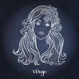 Zodiac sign. Astrological horoscope collection. Vector illustration. Virgo, Zodiac sign. Astrological horoscope collection. White on dark blue, black space stock illustration