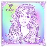 Zodiac sign. Astrological horoscope collection. Vector illustration. Virgo, women Zodiac sign. Astrological horoscope collection. Violet on soft ultra violet royalty free illustration