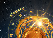 Zodiac Sign Cancer And Armillary Sphere On Blue Background. 3D Illustration Stock Photography