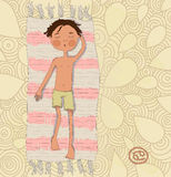 Zodiac sign Cancer. Boy sunbathe on the mat eps 10 Stock Photography