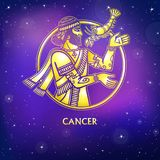 Zodiac sign Cancer. Character of Sumerian mythology. Gold imitation. Vector illustration. Background - the night star sky.Print, potser, t-shirt, card royalty free illustration