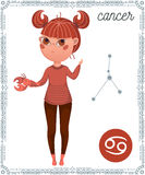 Zodiac sign Cancer. Funny cartoon character. Royalty Free Stock Images